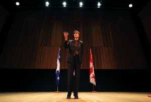 Principal Heather Munroe-Blum addresses students in the Tanna Schulich Hall yesterday.  Josh Chapman / The McGill Daily